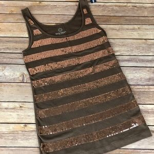 Old Navy Brown Sequin Tank Top
